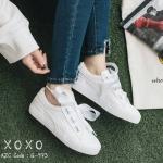 รองเท้าผ้าใบหนังแต่งเชือกริบบิ้น (สีขาว)