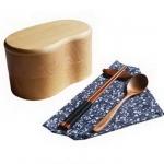 (พรีออเดอร์) กล่องข้าวไม้ กล่องข้าวญีปุ่น เบนโตะ กล่องห่ออาหารกลางวัน ไม้แท้ ลายสวย ปลอดภัย ทรงเม็ดถั่ว สองชั้น สีบีช