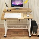 Pre-order โต๊ะทำงาน โต๊ะวางคอมพิวเตอร์ โต๊ะวางแล็ปท้อป แบบมัลติฟังก์ชั่น ท้อปคู่ สีโอ๊ค