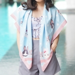 ผ้าพันคอ ลาย Rabbit Family - Blue พร้อมส่ง