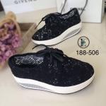 รองเท้าผ้าใบลูกไม้ทรง Sport (สีดำ)
