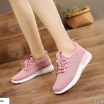 รองเท้าผ้าใบแฟชั่นผ้าระบายสไตล์ Sport (สีชมพู)