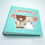 """อัลบั้ม 100 รูป (5x7"""") Happy Wedding Day ลายหมีคู่ สีมิ้นท์"""