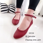 รองเท้าคัทชูส้นแบนถักเปีย (สีแดง)