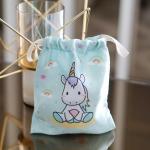 ถุงผ้าซาติน ลาย Unicorn - Mint
