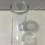 แก้วนํ้า 2 ชั้น แก้ว 2 ชั้น พลาสติก มีฝา มีหลอด 600 ml รหัส 1002