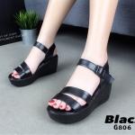 รองเท้าส้นเตารีด Platformสไตล์ลำลอง (สีดำ)
