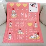 ผ้าห่มเด็ก ใส่ประวัติแรกเกิด+รูปถ่าย ลายกุ๊กไก่ สีชมพู/ Kook Kai - Old Rose