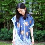 ผ้าพันคอ ลายลิง สีน้ำเงิน - Monkey - Navy - สั่งทำใส่ชื่อ