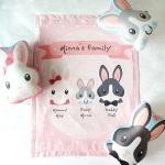 ผ้าห่มเด็ก ใส่ชื่อ ลายกระต่าย สีชมพูพาสเทล / Rabbit Family - Pastel Pink