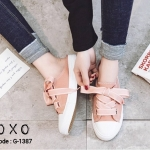 รองเท้าผ้าใบแคนวาสแต่งริบบิ้นทูโทน (สีชมพู)