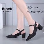 รองเท้าคัทชูหนังวิ๊งฉลุลาย (สีดำ)