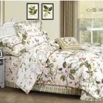 (Pre-order) ชุดผ้าปูที่นอน ปลอกหมอน ปลอกผ้าห่ม ผ้าคลุมเตียง ผ้าฝ้ายอเมริกาพิมพ์ลายดอกไม้สไตล์วินเทจ โทนสีเบจ