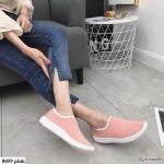 รองเท้าผ้าใบผ้ายืดทรงสวม (สีชมพู)