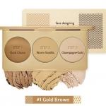 **พร้อมส่ง**Etude House Face Designing Contouring Palette #1 Gold Brown (Warm Tone เหมาะสำหรับผิวโทนสีเหลือง) พาเลต คอนทัวริ่ง 3 เฉดสีใน 1 ตลับ ช่วยให้การเฉดดิ้ง ไฮไลท์ ใบหน้าได้อย่างเป็นธรรมชาติ สร้างกรอบหน้า ไล้ดั้ง ให้หน้าดูมีมิติ สีสวยเป็นธรรมชาติ ,