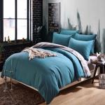 (Pre-order) ชุดผ้าปูที่นอน ปลอกหมอน ปลอกผ้าห่ม ผ้าคลุมเตียง ผ้าฝ้าย สีพื้น สีบลูแซฟไฟร์