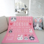 ผ้าห่ม ใส่ประวัติแรกเกิด ลายกระต่าย สีชมพู / Rabbit Family - Pink