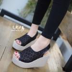 รองเท้าเตารีดลูกไม้สไตล์เกาหลี (สีดำ)