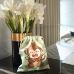 ถุงผ้าซาติน ลายลิงสีเขียว - Monkey - Green