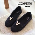 พร้อมส่ง : รองเท้าลูกไม้ส้นแบน (สีดำ)