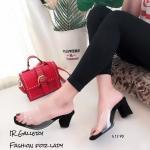 รองเท้าส้นตันสวมใสนิ่ม (สีดำ)