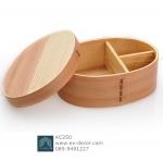 (พร้อมส่ง) กล่องข้าวไม้ กล่องข้าวญีปุ่น เบนโตะ กล่องห่ออาหารกลางวัน ไม้ Hemloc ทรงรี สีบีช สำเนา