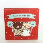 """อัลบั้ม 100 รูป (5x7"""") Happy Wedding Day ลายหมีคู่ สีแดง"""