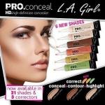 **พร้อมส่ง**L.A. Girl Pro Conceal High Definition Concealer 8g. New 6 เฉดสีใหม่ ที่สามารถเลือกใช้เป็นคอลซิลเลอร์ คอลเรคเตอร์ คอนทัวร์และไฮไลท์ เพื่อแก้ไขรูปหน้าของคุณให้สวยสมบูรณ์แบบ เนื้อครีมบางเบา ติดทนนาน สามารถใช้ในการปกปิดรอยคล้ำและริ้วรอยใต้ดวงตา รอ