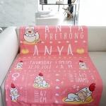 ผ้าห่ม ใส่ประวัติแรกเกิด ลายกุ๊กไก่ สีโอรส ไซส์ใหญ่ 100x150cm