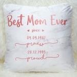 หมอนอิงสั่งทำใส่ชื่อ ลาย Marble - Best Mom Ever - Rose Gold