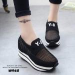 รองเท้าผ้าใบแฟชั่นเสริมส้น Y-8 (สีดำ)