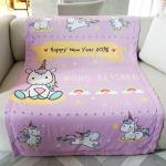 ผ้าห่ม สั่งทำใส่ชื่อ ลายยูนิคอร์น ไซส์ใหญ่ 100x150cm / Unicorn - Pink Lavender