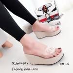 รองเท้าส้นเตารีดแต่งโลโก้ CC (สีครีม)
