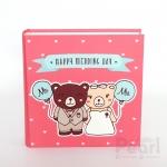 """อัลบั้ม 100 รูป (5x7"""") Happy Wedding Day ลายหมีคู่ สีชมพู"""