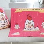 ผ้าห่มเด็ก ใส่ชื่อ ลายกุ๊กไก่ สีชมพูเข้ม / Kook Kai - Shocking Pink