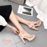 รองเท้าส้นสูงหน้าสานรัดข้อ (สีชมพู)