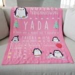 ผ้าห่มเด็ก ใส่ประวัติแรกเกิด ลายเพนกวิ้น สีชมพู / Penguin - Pink