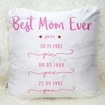 หมอนอิงสั่งทำใส่ชื่อ ลาย Marble - Best Mom Ever - Pink