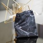 ถุงผ้าซาติน ลายหินอ่อนสีดำ - Black Marble