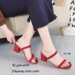 รองเท้าส้นสูงเปิดส้นแต่งสายคาด (สีแดง)