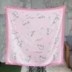 ผ้าพันคอ ลายยูนิคอร์น สีชมพู - Unicorn - Pink - สั่งทำใส่ชื่อ