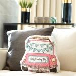 ของขวัญแต่งงาน - หมอนรถแต่งงาน สีชมพู Just Married Car Pillow