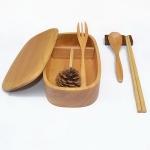 (พรีออเดอร์) กล่องข้าวไม้ กล่องข้าวญีปุ่น เบนโตะ กล่องห่ออาหารกลางวัน ไม้แท้ ลายสวย ปลอดภัย ทรงรี ชั้นเดียว สีไม้ธรรมชาติ