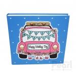 อัลบั้ม 100 รูป Happy Wedding Day ลายรถแต่งงานสีชมพู-คราม