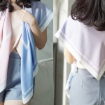 ผ้าพันคอ ลาย Rose Quartz & Serenity โทนเข้ม - สั่งทำใส่ชื่อ