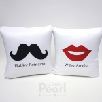 หมอนอิงสั่งทำใส่ชื่อ ลาย Lips& Moustache - White Fabric