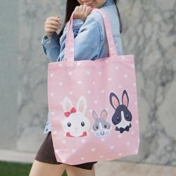 กระเป๋าผ้าแคนวาสพร้อมส่ง ลาย Rabbit - Pink