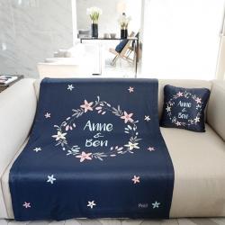 ผ้าห่ม ใส่ชื่อ ลาย Flower Frame - Navy ไซส์ใหญ่ 100x150cm
