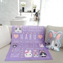 ผ้าห่ม ใส่ประวัติแรกเกิด ลายกระต่าย สีม่วง / Rabbit Family - Purple