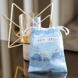 ถุงผ้าซาติน ลาย Whale - Blue